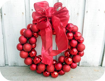 $6 Wire Hanger Christmas Ornament Wreath and Bow