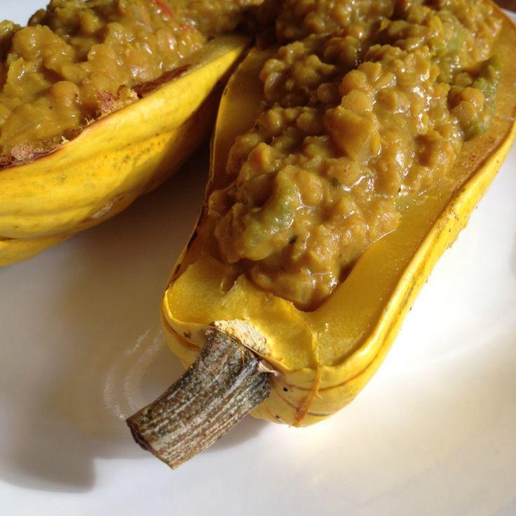 Delicata Squash stuffed with Indian spiced lentils. Cut 1 Delicata ...