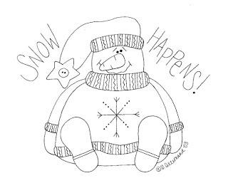 Les meilleurs et gratuits articles d'artisanat: la neige qui se passe - Snowman Stitchery modèle gratuit De Sue Allemand des primitives de Palette