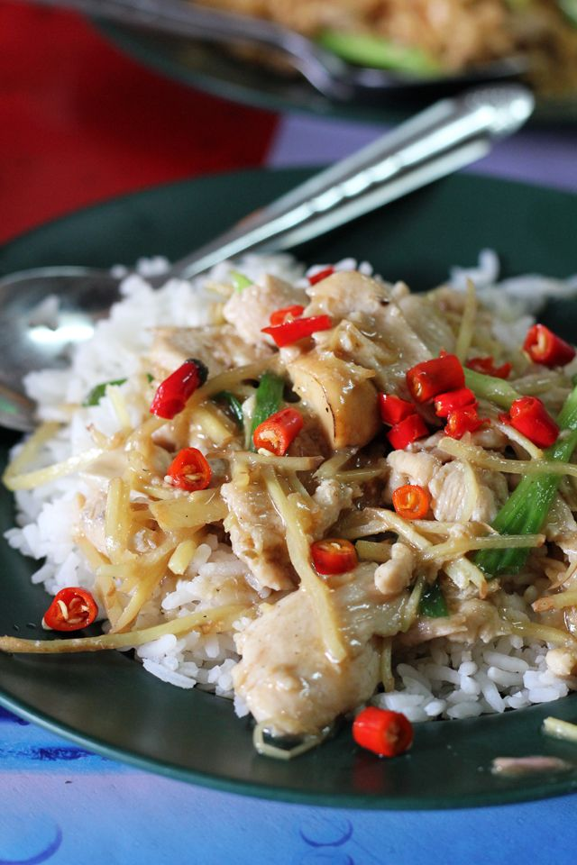 Ginger Chicken Stir fry with Rice | Authentic Thai Food | Pinterest