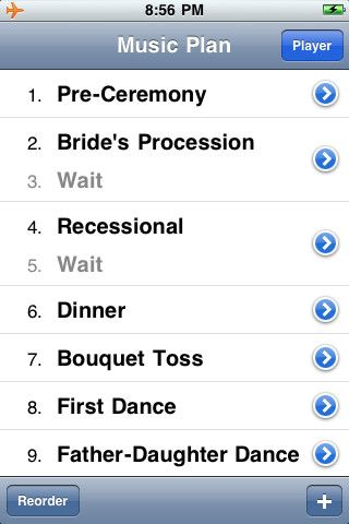"""Great Idea!  """"Running your music on an iPod can be great, but not if the wrong song comes on or the music cuts out. That's why WeddingDJ helps you plan out all the music you need at your wedding, using the songs and playlists you have in iTunes. When the big day comes, you hand it off to your MC, who simply needs to slide """"next"""" for each part of your wedding"""""""
