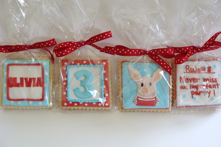 Olivia themed birthday cookie favors
