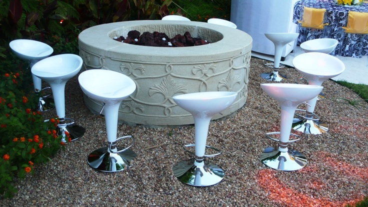 Modern Bar Stool Arrangement at an Elegant White and Black Engagement with Yellow Floral Accent