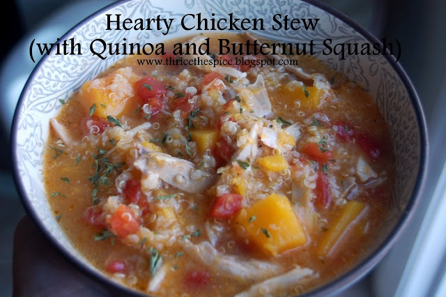 Hearty Chicken Stew (with quinoa and butternut squash).....so ...