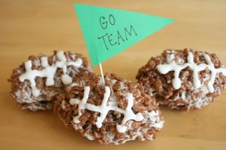Chocolate Rice Krispie Treat Footballs