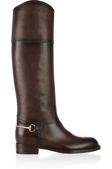Gucci Horsebit-embellished burnished-leather boots | NET-A-PORTER