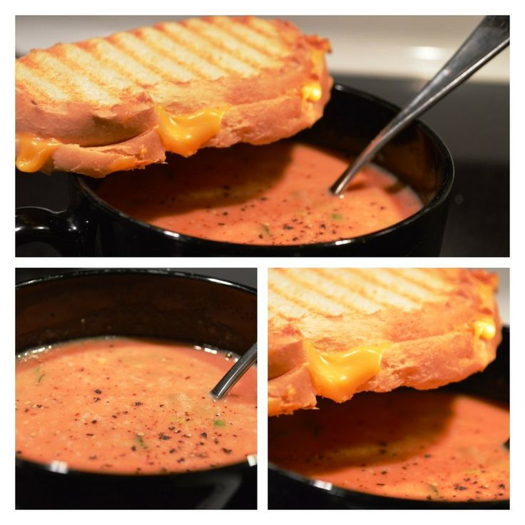 Egg Drop Tomato Soup with Scallions & Cheese Panini for @Meatless ...