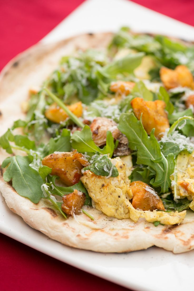 Grilled Breakfast Pizza with Torn Potato Croutons, Arugula, Tomato and ...