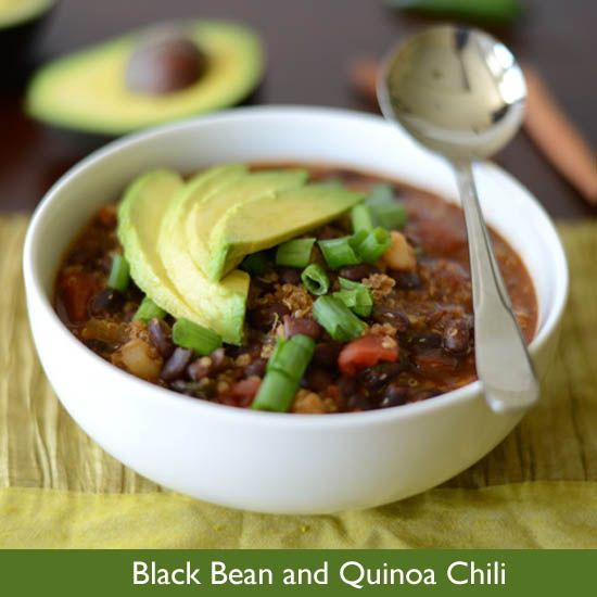 Black Bean and Quinoa Chili | Meatless Meals | Pinterest