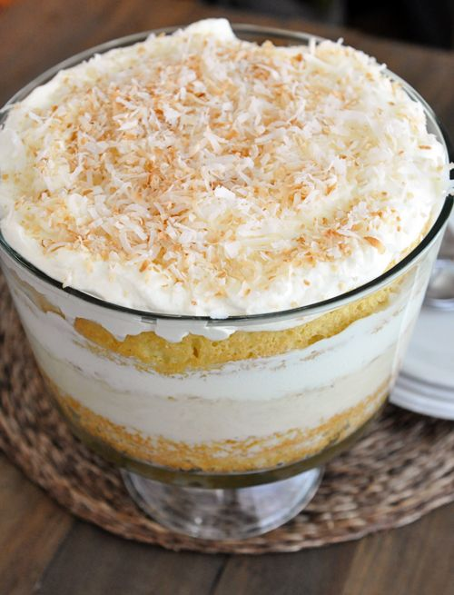 Coconut Tres Leches Cake Trifle Layers of tender white coconut cake ...