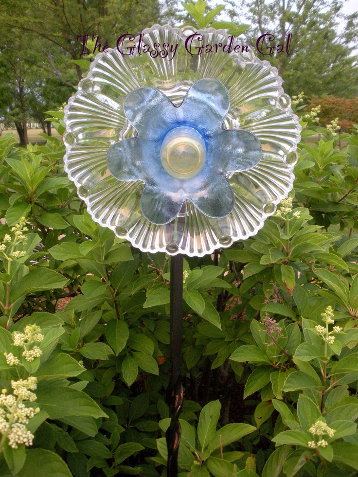 Pin by maria silver on garden totems of glass pinterest for Recycled glass garden ornaments