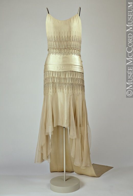 ~1928. The evening dress was designed by French couturier Lucien Lelong, one of the important couture names of the 1920s, whose reputation was based on his designs for clothes that were both elegant and feminine. Worn by Mrs. F. Cleveland Morgan, wife of the well-known Montreal museum benefactor, the gown was probably purchased by her on a European trip in the fall of 1928~