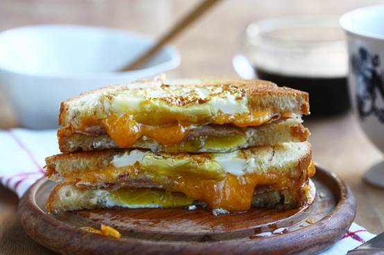 Egg-in-a-hole grilled cheese sandwich.   The Art Of Cooking   Pintere ...