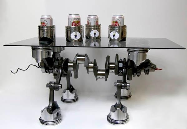 Engine block table repurposed furniture pinterest for Engine parts furniture