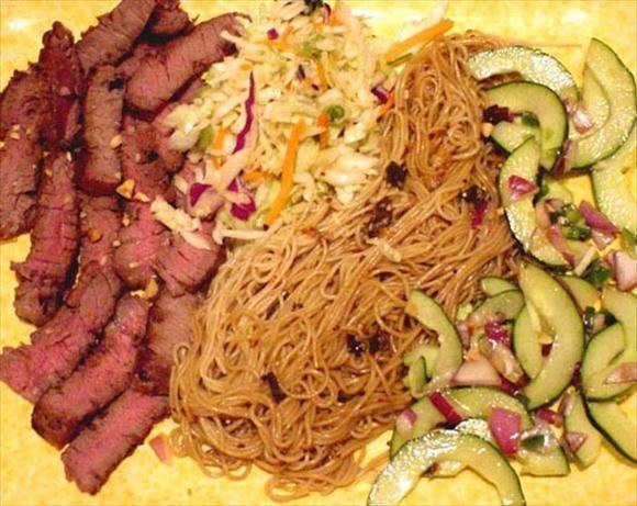 ... ton! Good for potlucks. (Soba noodles are Japanese buckwheat noodles