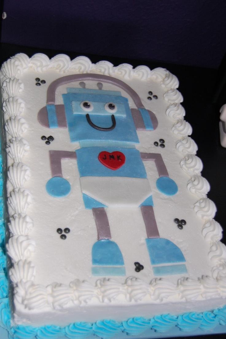 jack 39 s robot themed baby shower cake baby shower pinterest