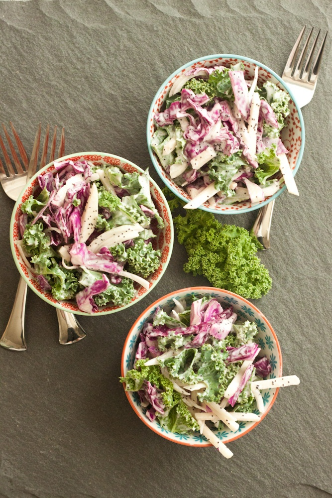 kale slaw + poppy seed-yogurt dressing | yummmm | Pinterest