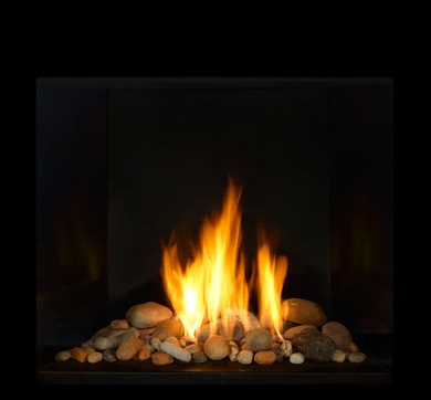 gas fireplace with river rocks amc pinterest