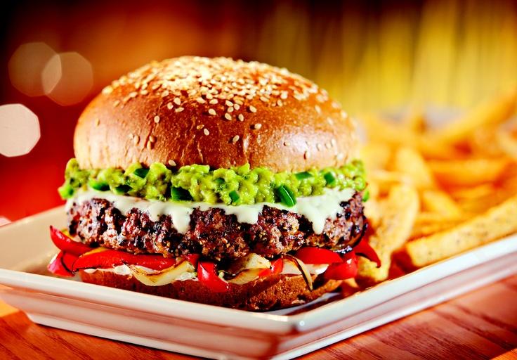 Burger: Fresh guacamole, Jack Cheese, fire-roasted jalapeños, cumin ...