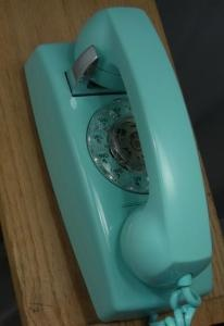 teal rotary phone