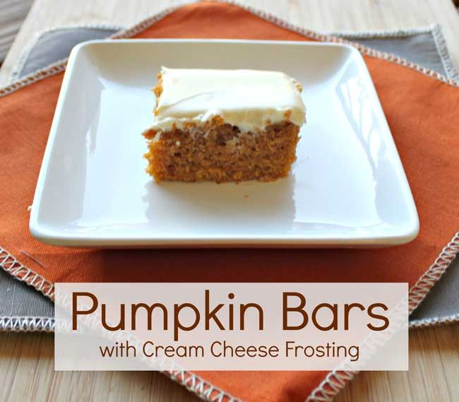 Pumpkin Bars with Cream Cheese Frosting - best pumpkin bar recipes I ...