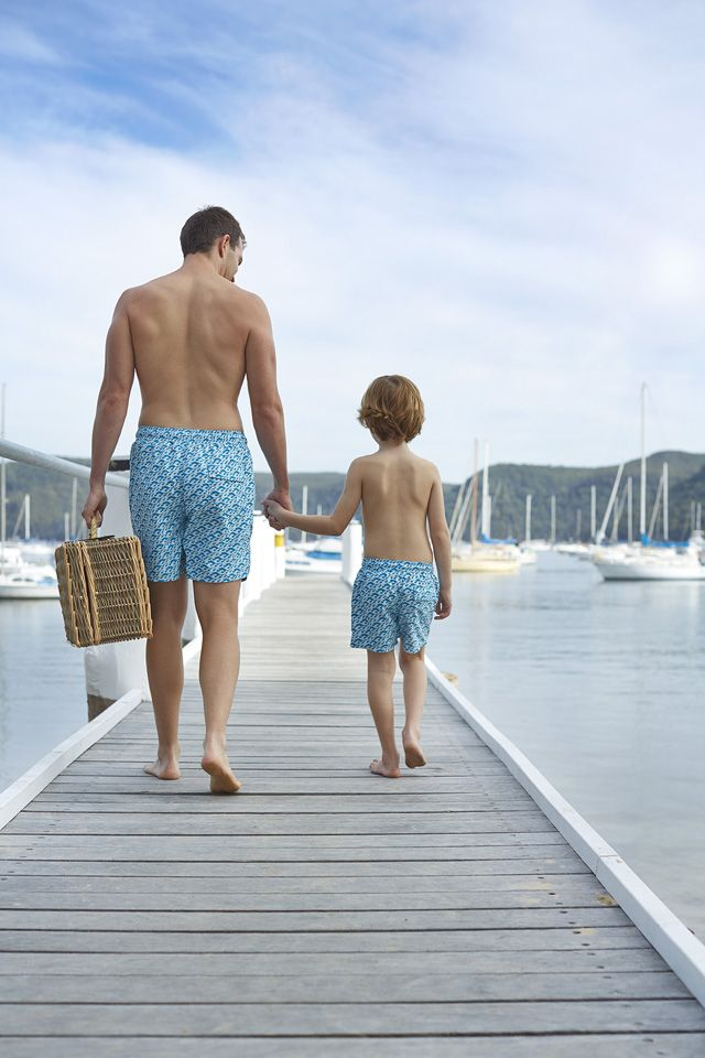 What little boy wouldn't LOVE having the same swim trunks as Daddy? We love these matching swim trunks from Tom & Teddy. #fathersday #giftidea