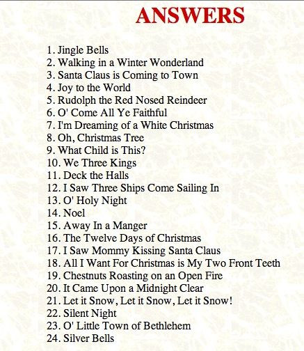 Answers to the Christmas Songs, Christmas Game