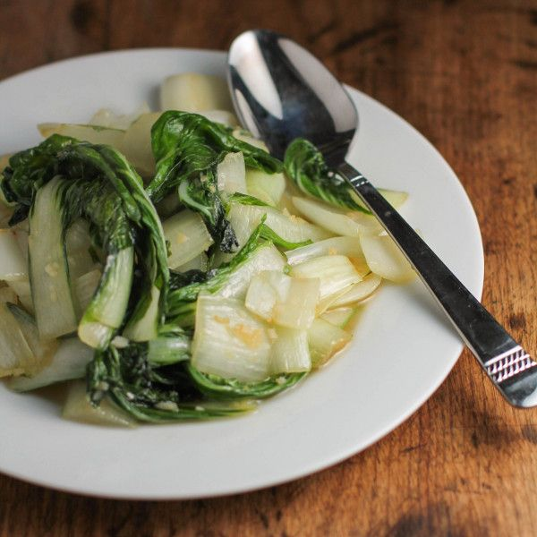 Easy Stir-Fried Bok Choy in Coconut Oil with Garlic and Ginger