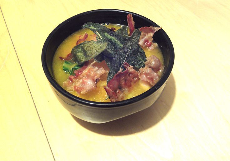 Pumpkin Soup' with butter beans and spinach, topped with crispy sage ...