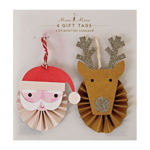 Santa And Reindeer Gift Tag Set Of Two
