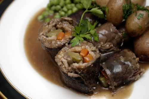 beef rolls stuffed with bacon and pickles. Omit flour from the gravy ...