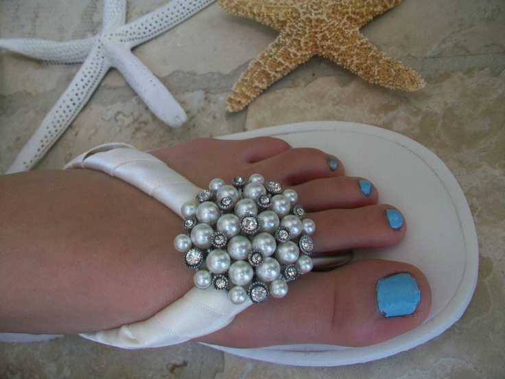 Moonlit Bridals - Pearl Beach Wedding Flip Flop Shoes, $128.99 (http://www.moonlitbridals.com/pearl-beach-wedding-flip-flop-shoes/)