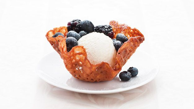 Brandy snap baskets - we fill with homemade cinnamon ice cream. On the ...