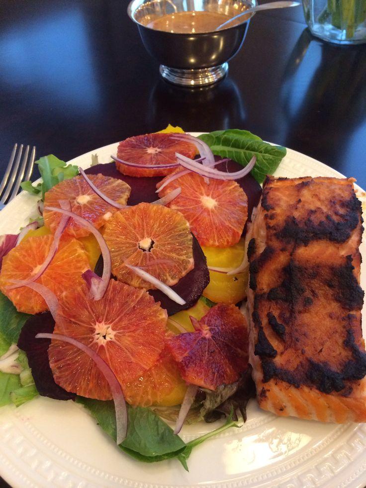 Blood Orange, Golden & Red Beet Salad w/ Miso Glazed Salmon
