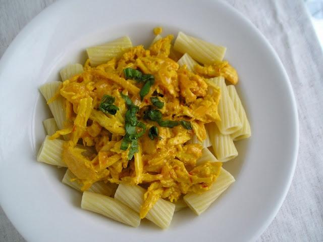 Wine-braised chicken and saffron cream over rigatoni- sounds delish!