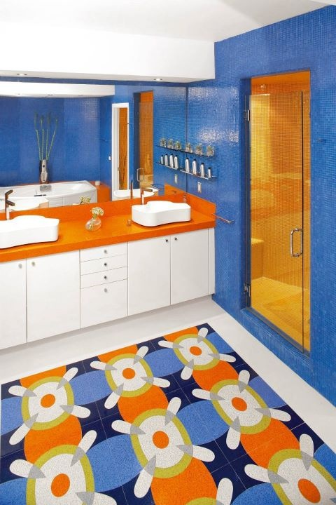 orange cobalt blue bathroom next house pinterest