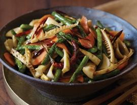 Bamboo Shoot, Mushroom, and Long Bean Stir-Fry