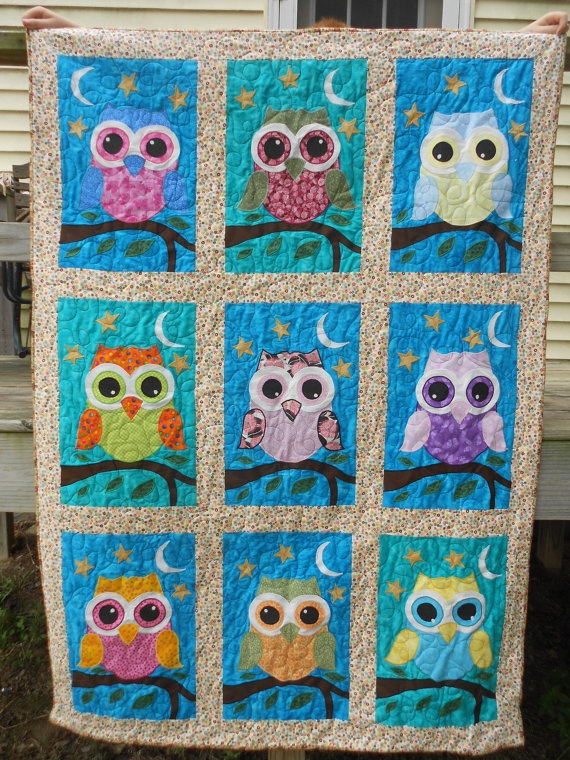 Appliqued Owl Quilt by craftyandquilted on Etsy, $175.00