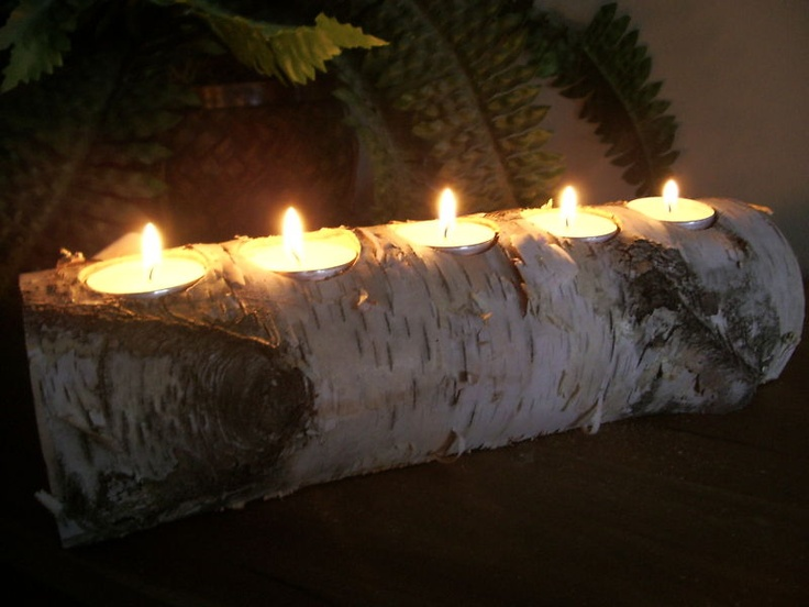 Birch bark log tea light candle holders for Log candles diy