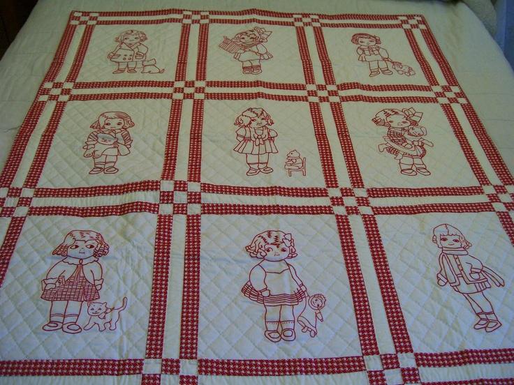 Redwork Quilting Patterns : REDWORK GIRLS Baby Quilt