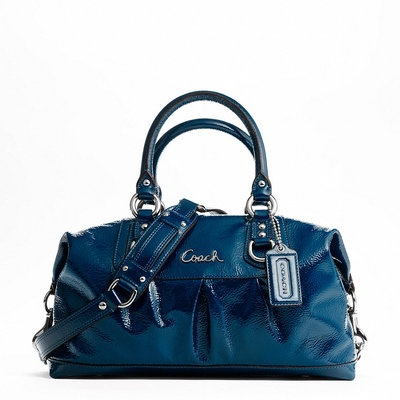 dark blue patent leather purse