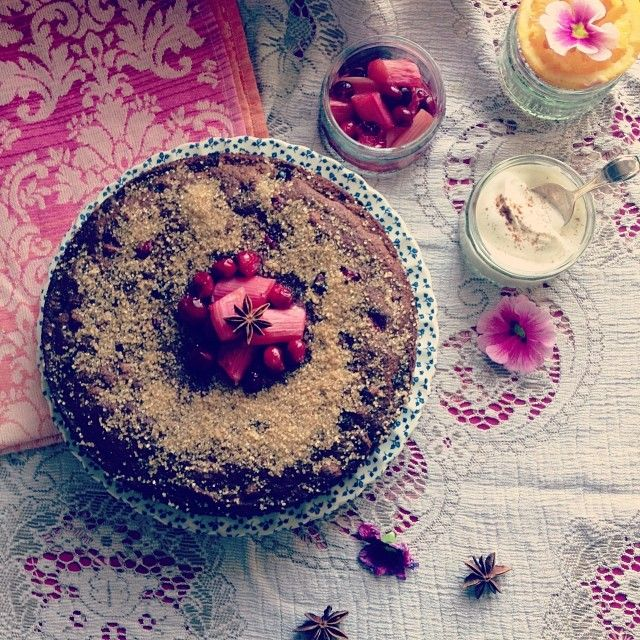 foodstyling #baking Cranberry spice cake with compote & maple ...