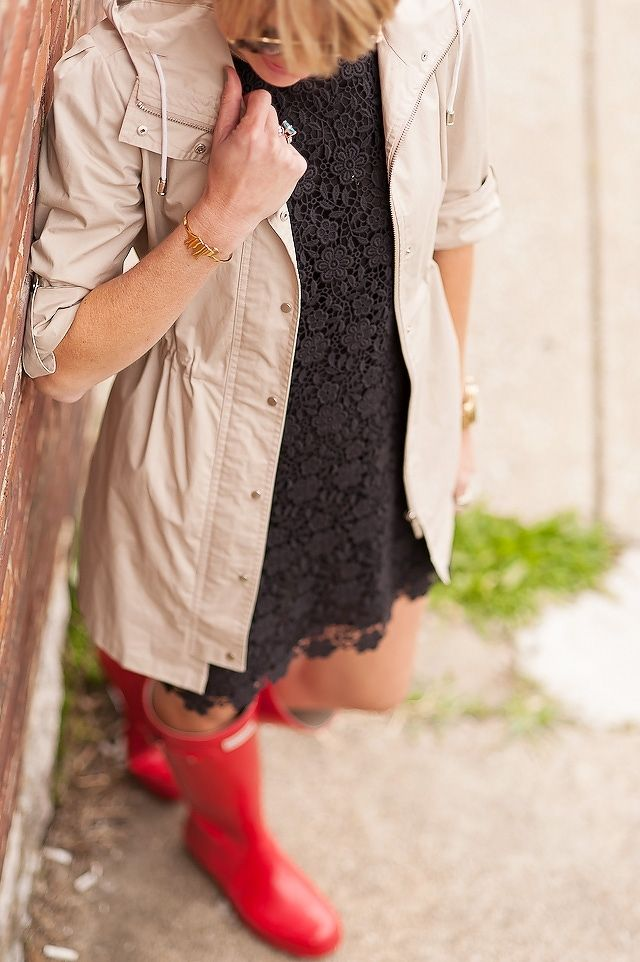 Rocking red rain boots with a black lace dress and a beige trench!