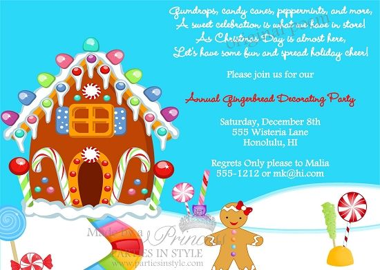 Gingerbread decorating christmas holiday party invitation original po