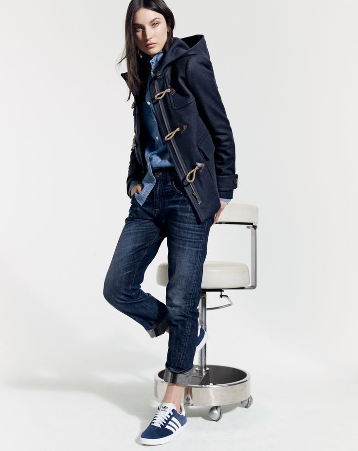 J.Crew women's duffle coat, selvedge chambray shirt, and Eastwood jean in dark otis.