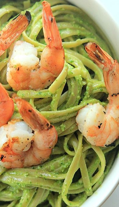 Goat Cheese Spinach Pesto Pasta with Grilled Shrimp | Recipe