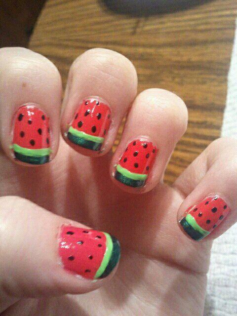 watermelon nail art - Google zoeken   Manicure et pédicure ...