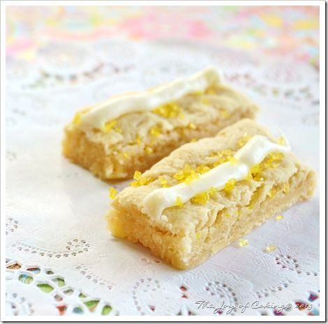 Lemon Iced Shortbread Cookie Bars | Here Come The Holidays