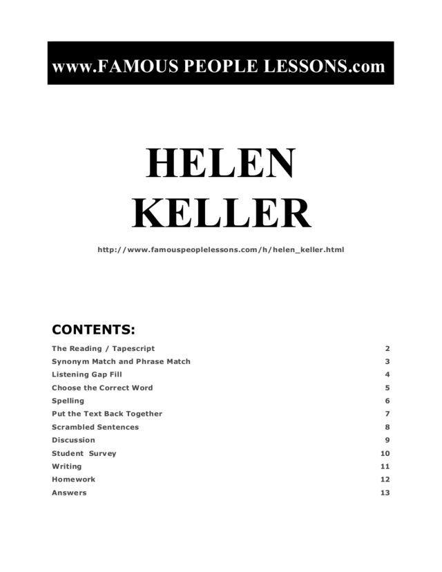 Helen Keller Worksheet   Lesson Planet   Education   Pinterest