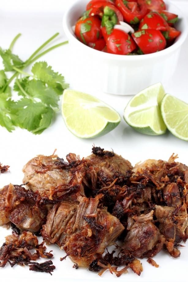 Carnitas recipe 1.5 lbs pork shoulder, cut into 2 inch cubes 1/4 cup ...